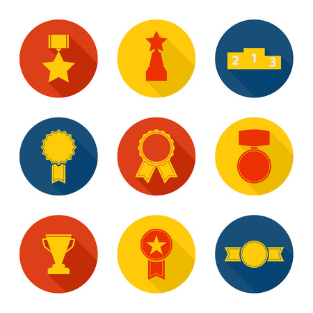 Set of vector icons of different awards, cup, ribbons, rosettes, medals for success. Sports trophies, podium, pedistal. flat design, long shadow. Illustration