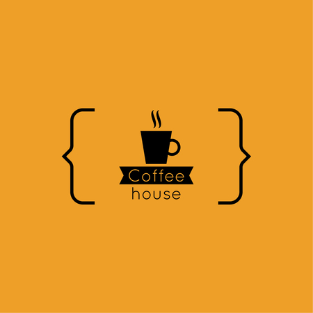 Abstract background with a cup of coffee from a white ribbon and text Coffee house and bracket. orange. for menu, restaurant, cafe, bar, coffeehouse. Illusztráció