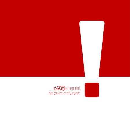 Exclamation mark icon. Attention sign icon. Hazard warning symbol  in red background. vector