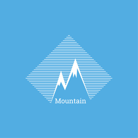 Mountains in box. Vector icon. Logo. Hiking, climbing, travel. Investigation of the Wild