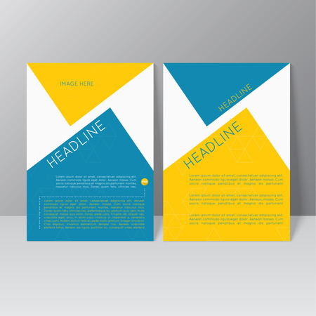 cover: Vector brochure template design with triangles, icons and different elements. Flyer or booklet Layout. Illustration