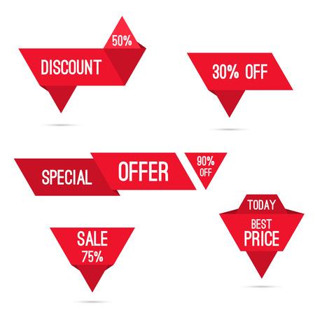 Set tags met linten en labels. speciale aanbieding, korting en percentages, prijs, 25, 30, 75% banner Vector Illustratie