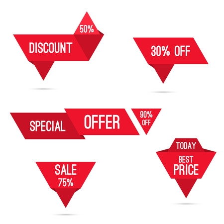 Set tags with ribbons and labels. special offer, discount and percentages, price, 25, 30, 75 % banner 向量圖像