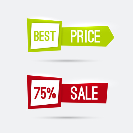 Set of glowing banners with discounts and great deals buying goods. best price, sale, red, green Vector