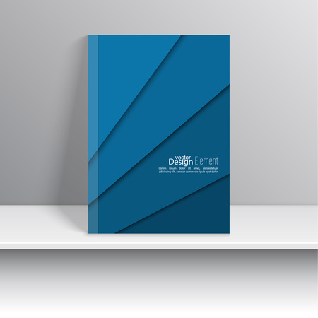 marca libros: Portada de revista con tiras de colores azules de papel. Para el libro, folleto, folleto, cartel, folleto, folleto, dise�o de portada del CD, postal, tarjeta de visita, el informe anual. ilustraci�n vectorial. resumen de antecedentes