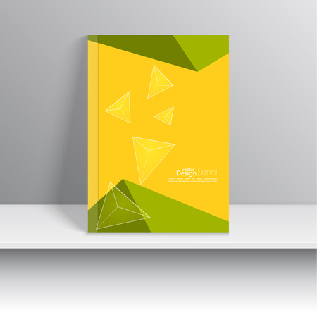 blank book cover: Magazine Cover with glossy, transparent pyramids, triangles. For book, brochure, flyer, poster, booklet, leaflet, cd cover design, postcard, business card, annual report. vector illustration. abstract background Illustration
