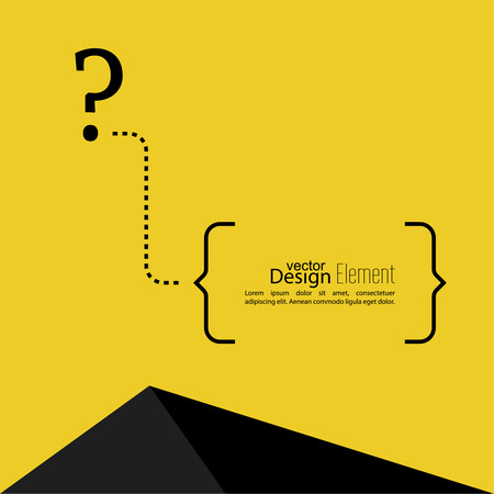 question mark icon: Question mark icon. Help symbol. FAQ sign on a yellow background with a triangle. vector. text in brackets