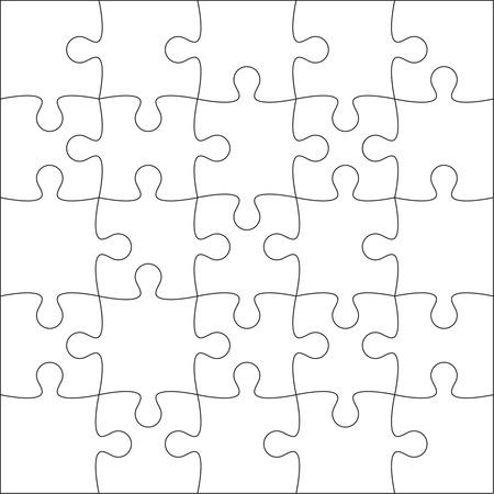 지그 소 퍼즐 빈 템플릿 또는 20 조각의 절단 가이드 라인.