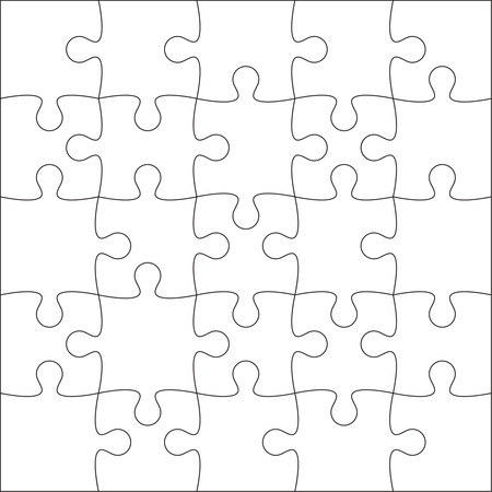 Jigsaw puzzle blank template or cutting guidelines of 20 pieces. Vector