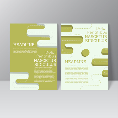 flyer layout: Vector brochure template design with stripes and smooth lines with dots, icons and different elements. Flyer or booklet Layout. Illustration