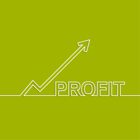 increment: The graph shows the growth and profit. Income from a successful investment. Bank asset growth through profitable investments. green background