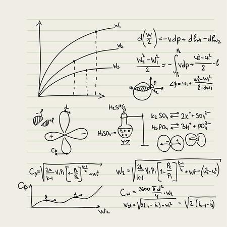 simbolos matematicos: Vector patr�n con f�rmulas matem�ticas, c�lculos, gr�ficos, la prueba y la investigaci�n cient�fica en el campo del �lgebra, la geometr�a. Hoja de papel con personajes dibujados a mano. Vectores