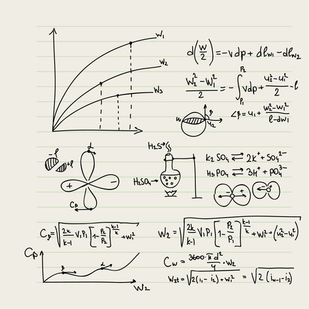 math symbols: Vector pattern with mathematical formulas, calculations, graphs, proof and scientific research in the field of algebra, geometry. Paper sheet with hand-drawn characters.