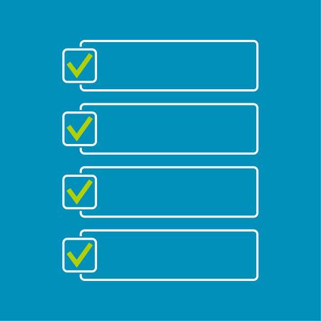 cheque en blanco: Portátil con para hacer la lista. Las líneas con casillas de verificación. lista de verificación para la nota. consentimiento. marca de verificación. elección y votación Vectores