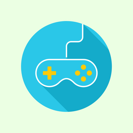 playstation: Game background wire and joystick. outline. Game tournaments and competitions. Games icon, flat design with long shadow. mobile app