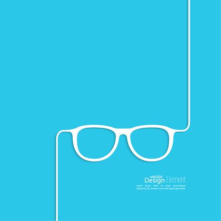 nerd: Geek glasses icon. Hipster and nerd style. for mobile apps, web sites and pages, t-shirt design.  blue, white