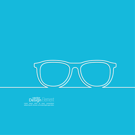 Geek glasses icon. Hipster and nerd style. for mobile apps, web sites and pages, t-shirt design. blue, white Vector