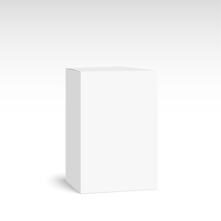 text box: Package white box on a white background. vector. Realistic 3d blank for perfume, Software, electronic device, tea box and other products.