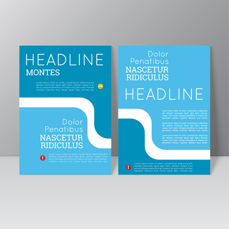 Vector brochure template design with wave, icons and different elements. Flyer or booklet Layout. Vector