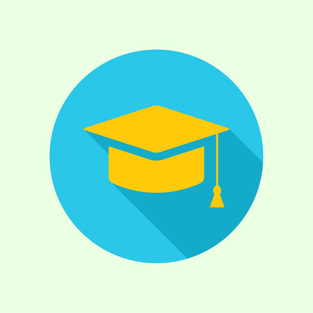 Vector icon of mortarboard or graduation cap. concept of knowledge and education. completion of learning and research for a doctoral degree. flat design with long shadow Illustration