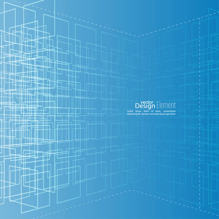cyberspace: Abstract vector background with glowing grid. Architectural plan. Tehnolologiya, science and research. cyberspace to cells