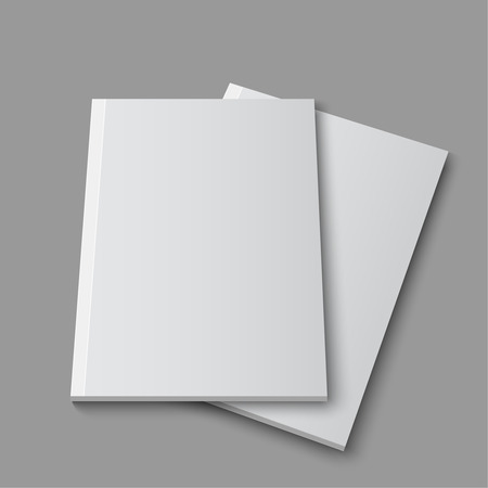 book design: Blank empty magazine or book template lying on a gray background. vector