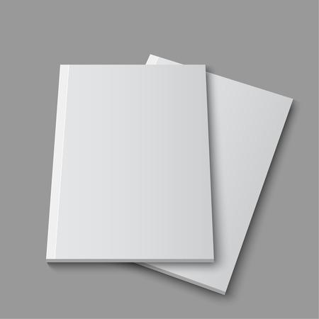 sjabloon: Leeg leeg tijdschrift of boek template liggend op een grijze achtergrond. vector