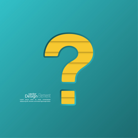 questionably: Question mark icon. Help symbol. FAQ sign on a yellow background. vector