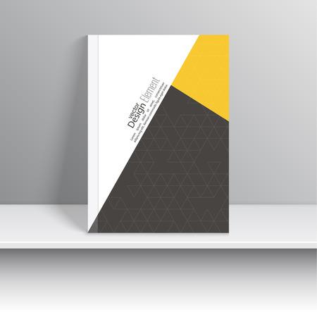 marca libros: Portada de revista con trozos de papel de colores, triángulos. Para el libro, folleto, folleto, cartel, folleto, folleto, diseño de portada del CD, postal, tarjeta de visita, el informe anual. ilustración vectorial. resumen de antecedentes