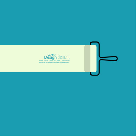 house painter: Paint roller with a strip of paint on the blue wall. space for text. flat design. For ads, promotion, announcement and advertising.