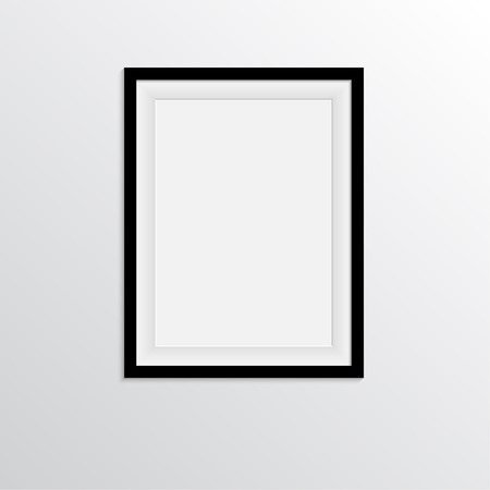 indoor photo: Black frame for paintings or photographs on the wall Illustration