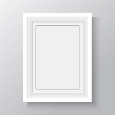 picture: White frame for paintings or photographs on the wall. A4, A3 Format paper design vector with space for text or ad.