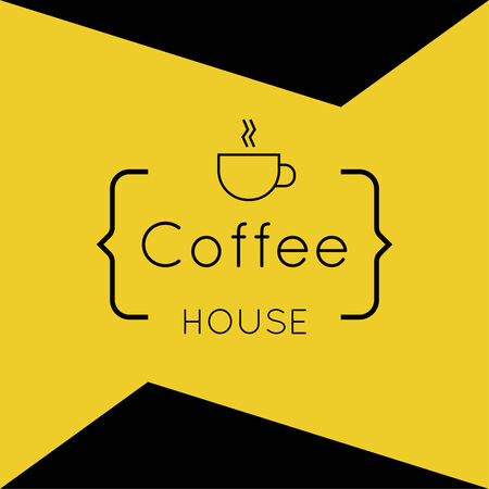 coffeehouse: Abstract background with a cup of coffee from a white ribbon and text Coffee house and bracket. orange. for menu, restaurant, cafe, bar, coffeehouse. Illustration