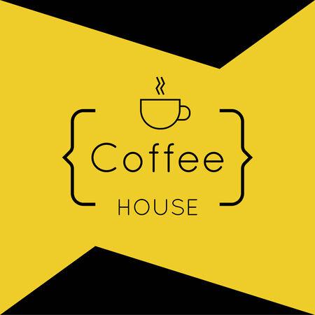 ruban blanc: R�sum� de fond avec une tasse de caf� � partir d'un ruban blanc et le texte Coffee house et le support. orange. pour le menu, restaurant, caf�, bar, caf�.
