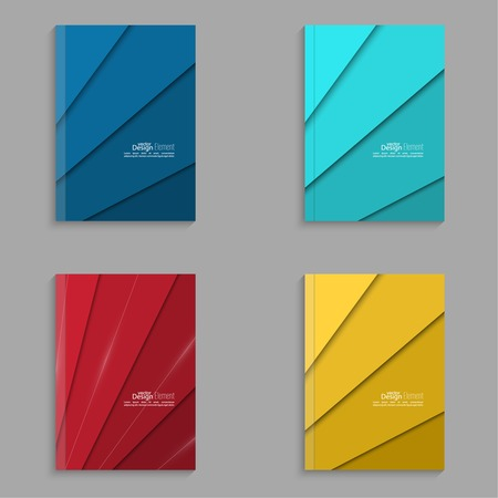 Set of covers for the magazine of the colored stripes. For book, brochure, flyer, poster, booklet, leaflet, cd cover design, postcard, business card, annual report. vector illustration. abstract background. blue, turquoise, red, yellow Vector