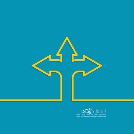 decision tree: Vector abstract background with direction arrow sign. The concept of a decision making standing on road junction. Movement in an unknown direction. uncertainty choice Illustration