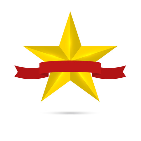 five star: Golden shiny, glossy star with red ribbon. Symbol awards, winning, encourage. mark the best. rank