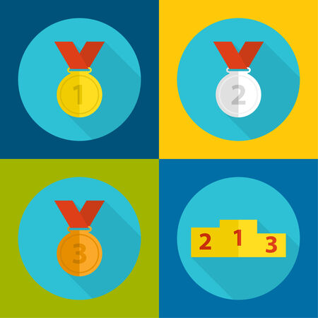 conqueror: Gold, bronze, silver medal with red ribbon, podium. a flat design with a long shadow.first, second and third prize,  the highest award accomplishment 1st winner