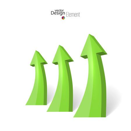 pointing up: Sfondo astratto con la freccia verde lucido rivolta verso l'alto. 3d