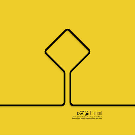 advertising signs: Abstract yellow background with black signs. Road sign. Warning. blank space for advertising, ads, text