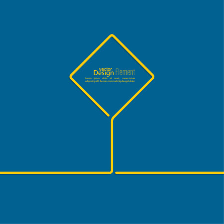 adboard: Abstract blue background with yellow signs. Road sign. Warning. blank space for advertising, ads, text