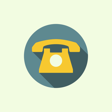 dialer: Icon with an old rotary telephone. Call technical support. Contacts. flat design with long shadows