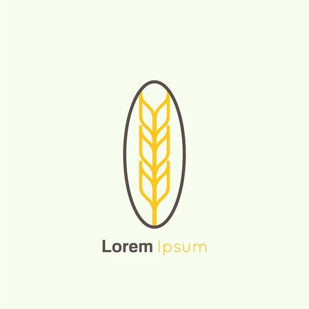 espiga de trigo: Modelo abstracto del icono del vector. Espiga de trigo, grano, cosecha