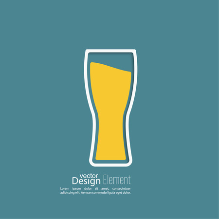 glass of beer: Beer glass with yellow liquid. Logo for restarana, pub menu, cafe