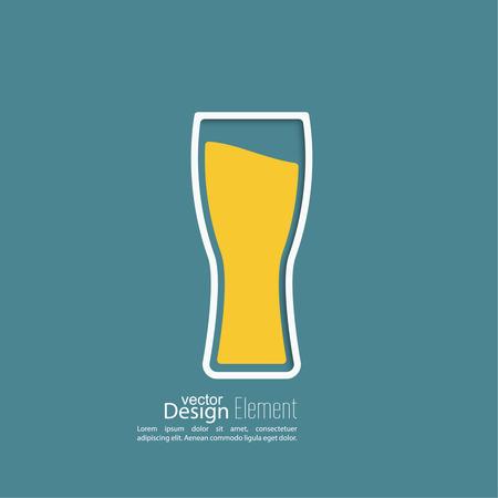 Beer glass with yellow liquid. Logo for restarana, pub menu, cafe