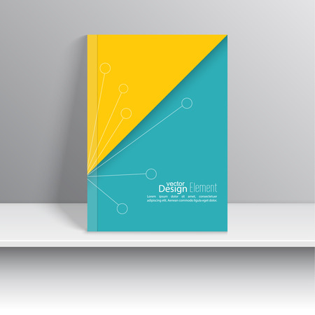 notebook cover: Magazine Cover with schematic particle. For book, brochure, flyer, poster, booklet, leaflet, cd cover design, postcard, business card, annual report. vector illustration. abstract background Illustration