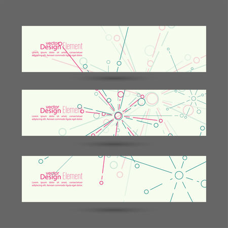 connect the dots: Set of vector banners with the explosion particle. For websites, internet, paper stickers, labels, mobile app, annual report template. Science, Technology