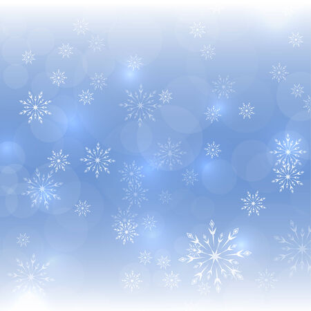 hoarfrost: Abstract Winter Background with beautiful various snowflakes and stars