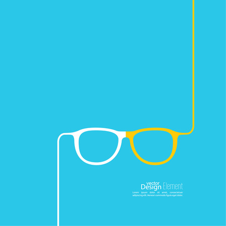 corrective lenses: Geek glasses icon. Hipster and nerd style. for mobile apps, web sites and pages, t-shirt design.  blue, white, yellow
