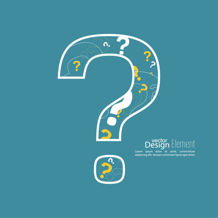 questionail: Question mark icon. Help symbol. FAQ sign on a yellow background. vector